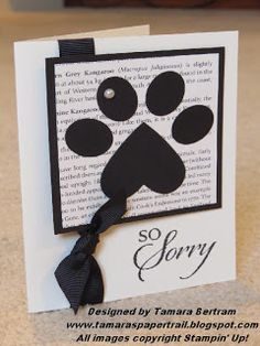 Handmade Card; Animal Sympathy; Stampin' Up!; Paw Print Punch Art; Tamara's Paper Trail