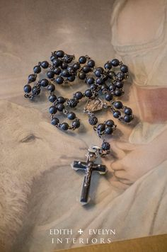 Antique French Rosary Ebony Beads from Closed by edithandevelyn