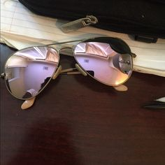 57621df034 Pink purple Flash Lense Ray Bans Aviators Like new. No damage or scratches.