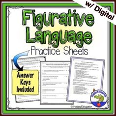 This figurative language pack includes a types of figurative language handout that defines different figures of speech like similes, metaphors, idioms, personification, and hyperbole and gives an example of each. On the first worksheet students have to identify ten sentences that use metaphors or s...