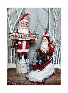 Greg Guedel Christmas Santa carvings
