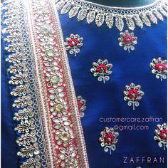 Lehenga Lookbook 1029 by Zaffran Label | customercare.zaffran@gmail.com Embroidery On Kurtis, Hand Work Embroidery, Hand Embroidery Designs, Embroidery Dress, Embroidery Stitches, Embroidery Patterns, Maggam Work Designs, Back Neck Designs, Saree Blouse Designs