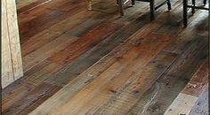 Mixed Hardwood Floor. I love the rustic barn wood feel