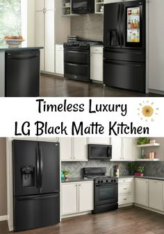 Timeless Luxury with the LG Matte Black Kitchen The LG black matte kitchen appliances add timeless luxury to your home from Modern Grey Kitchen, Grey Kitchen Designs, Red Kitchen, Minimalist Kitchen, Black Kitchens, Rustic Kitchen, Kitchen Decor, Timeless Kitchen, Kitchen Appliance Storage