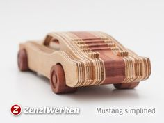 1969 Mustang simplified cnc/laser by ZenziWerken - Thingiverse Wooden Toy Cars, Wood Toys, Woodworking Toys, Woodworking Projects, Toddler Toys, Kids Toys, Pinewood Derby Cars, Cardboard Toys, Diy Holz