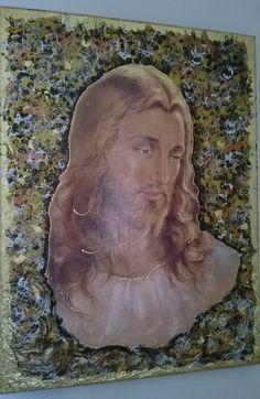 Cristo in decoupage pittorico e macchie in foglia oro