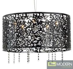 Ideally suited to your contemporary home, this light features a chromed body and striking botanical-inspired, laser-cut shade crafted from durable acrylic. The black finish provides rich contrast. When the five bulbs inside are illuminated, this light produces a warm and inviting glow. http://moderncontempo.com/nuevo-riel-pendant.html