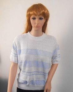 Woman's Short Sleeve Blue and White Sweater  by VintageElations