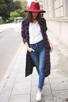 Street Fashion! Like it. Nice white shirt with blue denim pants. #gorgeous lady. 2014 fashion