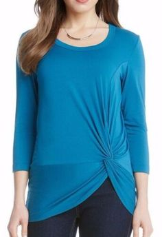 Karen Kane 3L13593 Baltic Blue 3/4 Sleeve Side Twist Stretch Jersey Top - $79   eBay Karen Kane, Tunic Tops, Stylish, Casual, Sleeves, Sweaters, Blue, Ebay, Women