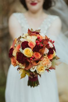 Autumn Wedding Ideas Autumn Colors Bouquet - The romance of today's couple Autumnal Marybrooke Manor wedding captured by Someday Somewhere Photography captured that beautiful fiery ambiance of the season Bridal Bouquet Fall, Fall Bouquets, Fall Wedding Bouquets, Fall Wedding Flowers, Bride Flowers, Orange Wedding, Fall Wedding Dresses, Bride Bouquets, Floral Bouquets