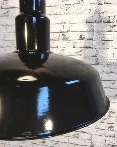Mid Century Industrial Black Enamelled Factory Lamp, 1950s Industrial Lamps, Black Enamel, 1950s, Mid Century, Black Polish, Medieval