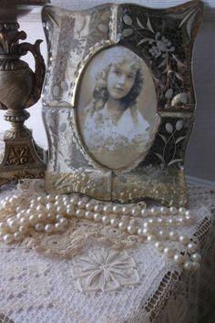 Vintage Venetian Photo Frame. Boudoir Vanity table frame.  Romantic Cottage. Floral Etched Bevelled Mirror Frame. Art Nouveau Style Frame. by 3vintagehearts on Etsy