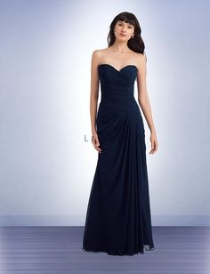 Bill Levkoff 1146 Bridesmaid Dress.  The strapless, sweetheart neck showcases distinct pleats that glide down to the dropped waistline. A floor-length skirt with gorgeous gathers wraps things up in a beautiful manner.