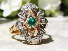 Vintage Engagement Ring Russian 585 Rose by LadyRoseVintageJewel, $785.00