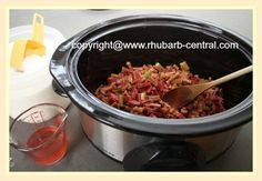 Making a Crockpot Stewed Rhubarb Compote Recipe
