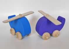 Wooden Helicopter Toy waldorf toy pretend play by 2HeartsDesire, $9.00