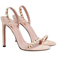 Pre-owned Gucci Mallory Swarovski Crystal-embellished Sandal Nude... ($675) ❤ liked on Polyvore featuring shoes, sandals, nude suede, nude slingback shoes, swarovski crystal shoes, suede shoes, embellished sandals and nude sandals