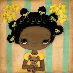 Flower Print---Buttercup And Her Bear 6 x 6