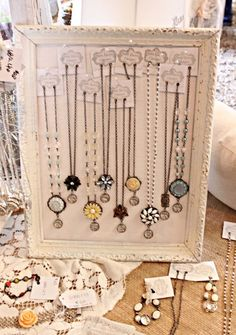Jewelry Display - cool idea having the necklace chain run thru holes in the price labels