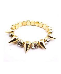 Gold Tone Rivet Rhinestone Stretch Bracelet B-0015
