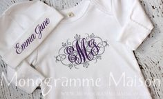 Coming Home Outfit- New Baby Gift -Baby Shower Gift -New Baby Girl Outfit -Monogrammed Layette Gift Set-Newborn Pictures - Pima Cotton