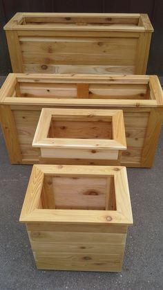 Outdoor Planter Boxes, Raised Planter Boxes, Garden Planter Boxes, Wood Planter Box, Wooden Planters, Outdoor Planters, Diy Garden Fence, Garden Walls, Cedar Box
