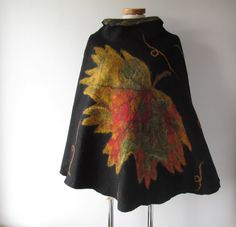 Women Poncho Black wool Cape Felted poncho Natural by galafilc
