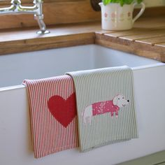 Tea Towel Embroidered Frank - Red & Duck Egg Blue Stripe (pack of 2) | Susie Watson Designs