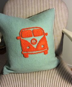 Vintage VW Bus pillow, designed and hooked by Lynda Johnston, Totally Hooked Designs.  Find more designs on Etsy, Facebook and Instagram.  Every pillow has a story.