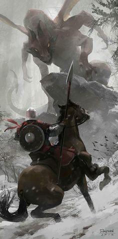 knight vs dragon. warrior