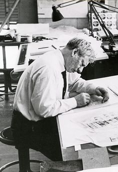 US-American architect Louis Kahn in his studio, photo © Architectural Archives, University of Pennsylvania / George Pohl