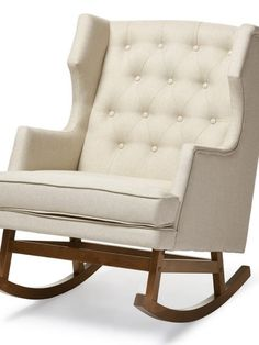 Tufted Wingback Rocking Chair |  Light Beige | Modern Furniture • Brickell Collection