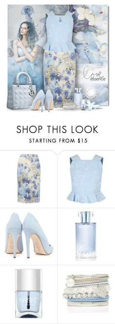 """Blue Floral Pencil Skirt"" by debraelizabeth ❤ liked on Polyvore featuring M&Co, Erdem, Piel Leather, Dee Keller, Orlane, Nails Inc., Forever New and Miadora"