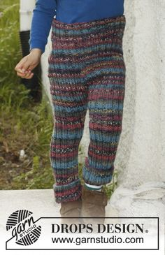"Knitted DROPS pants in rib in ""Big Fabel"". Size 3 to 12 years. ~ DROPS Design"