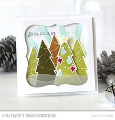 Trim the Tree, Blueprints 19 Die-namics, Stitched Snow Drifts Die-namics, Trim the Tree Die-namics, Sun Ray Stencil - Julia Stainton  #mftstamps
