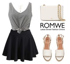 """ROMWE Skirt"" by tania-alves ❤ liked on Polyvore featuring Tory Burch"