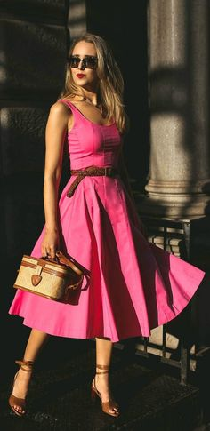 What to Wear for Mother's Day // Hot pink sleeveless midi a-line dress, tan leather strappy sandals, small woven box bag, cat eye sunglasses, tan braided tied waist belt {Jcrew, Veronica Beard, What to wear, summer style, fashion blogger, classic outfit}