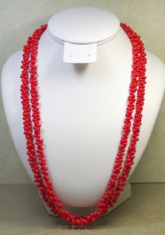 VINTAGE OLD PLASTIC RED NECKLACE WITH BELL SHAPED BEADS, TWO STRANDS, 25 INCHES  #StrandString