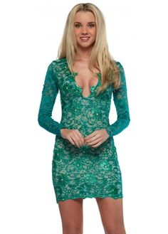 Holt Eli Dress Emerald Green Painted Lace Long Sleeved Dress
