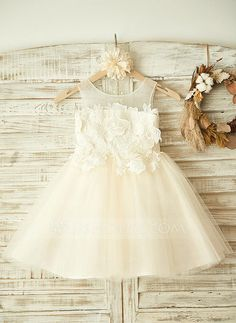 [US$ 68.99] A-Line/Princess Knee-length Flower Girl Dress - Tulle Sleeveless Scoop Neck With Appliques