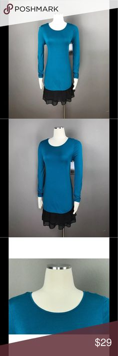 KENSIE Chiffon Trim Tiered  Blue Tunic Dress NEW KENSIE Women's Casual Sheer Chiffon-Trim Tiered Teal Blue Long Sleeve Tunic Dress Sz S $89 NEW Kensie Dresses Mini