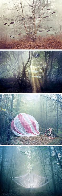 """""""And Then…"""" is a collaborative photography project between photographer Jo Metson Scott and artist/set designer Nicola Yeoman. Each photograph depicts an open narrative set in a wooded scene, whether it be a ghostly horse drawn carriage or a downed hot air balloon — the series is ethereal, beautiful and thoughtful."""