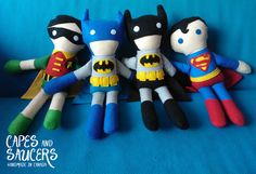 Soft Stuffed Batman Ragdoll Super Hero Plush by CapesandSaucers