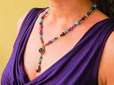 "Collier ethnique ""Intuition and good comunication"" pour femme des pierres naturelles style bohéme Massage Corps, Turquoise Necklace, Beaded Necklace, Intuition, Bronze, Bracelet, Jewelry, Fashion, Turquoise Color"