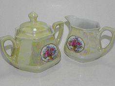 German Porcelain Lustreware Sugar and Creamer Melk, Sugar Bowls, Cream And Sugar, Tea Pots, German, Shabby, Porcelain, Collections, Simple