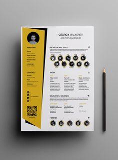 Creative Cv Template, Resume Design Template, Resume Templates, Architecture Portfolio Layout, Architecture Design, Cv Original Design, Architectural Cv, Conception Cv, Layout Cv