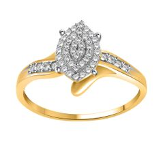 Natural Round Diamond Sterling Silver Yellow Gold Over Engagement Ring 7 $499 Free Shipping in USA ~ 100% Satisfaction ~ 14 Days Return