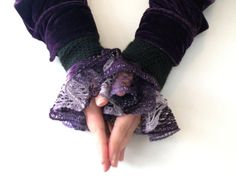 Black and Purple Ruffled Wrist Cuffs Victorian by GothInTheNight, $20.00