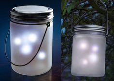 These jars are sooo cool!  They contain led lights that flicker on and off giving the appearance of fireflies in a jar.  Solar or battery operated.